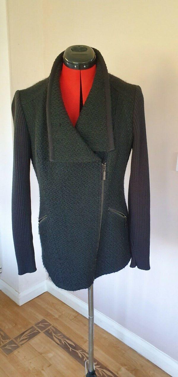 Per-Una-black-boucle-knit-jacket-Front-asymmetrical-zip-linedsize-14-383747521350