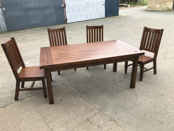 Solid-Wood-Sheesham-Jali-Acacia-183x101x78ccm-Dining-Table-And-4-Chairs-384006406330