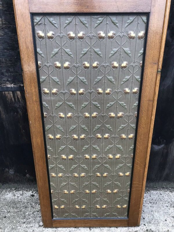 Fabulous-Art-Deco-Leather-Oak-And-gold-Screen-264849440221-6
