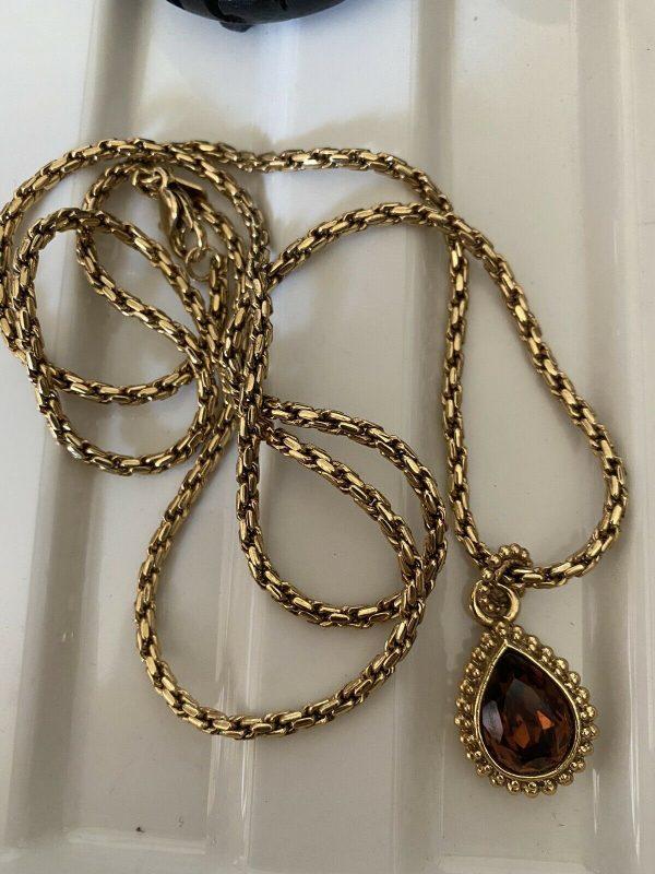 1928-Brand-Gold-Sprayed-Heavy-Amythistt-Drop-On-Chain-384080925145