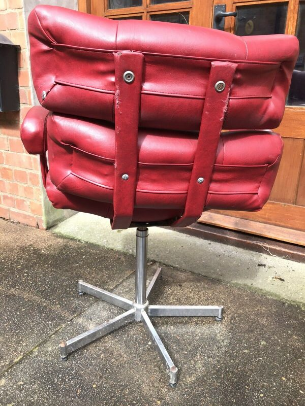 Red-Leather-Italian-Mid-Century-Chair-383503318486-6