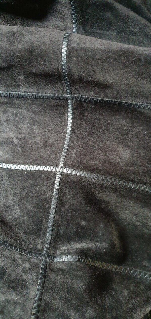Black-suede-genuine-leather-Coat-Italian-size-16-383747529597-3
