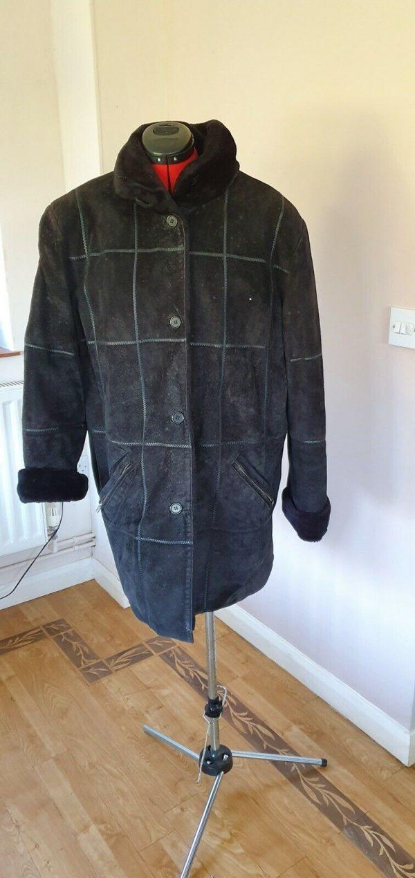 Black-suede-genuine-leather-Coat-Italian-size-16-383747529597