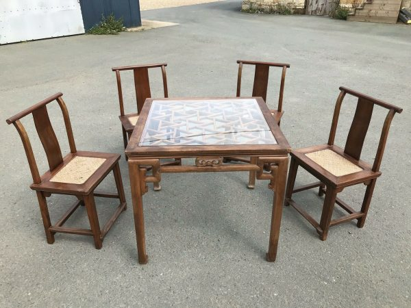 Chinese-Hardwood-Table-And-Four-Chairs-264805467928