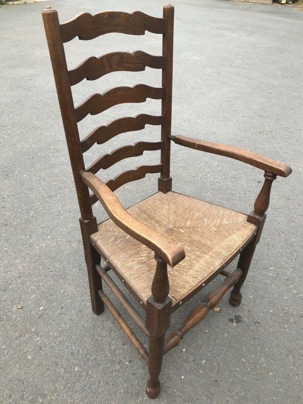 Rush-Seated-Vintage-Armed-Chair-264849514059