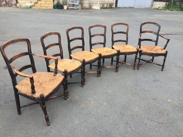 Set-Of-6-Unusual-Rush-Seated-Chairs-C1800-383617695109